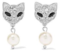 Ohrringe Aus Silber Mit Swarovski-kristallen Und Kunstperlen