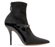 New Feminine Sock Boots Aus Lackleder Und Stretch-veloursleder -