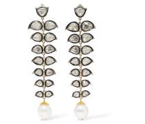 Ohrringe Aus 14 Karat Gold Und Sterling Mit Diamanten Und Perlen
