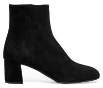 Ankle Boots Aus Veloursleder - Schwarz