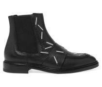 Chelsea Boots Aus Strukturiertem Leder Mit Heftklammern - Schwarz