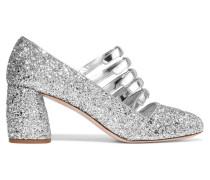 Pumps Aus Metallic-leder Mit Glitter-finish - Silber