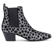 Rock Ankle Boots Aus Leder Mit Flockdruck Und Glitter-finish - Silber