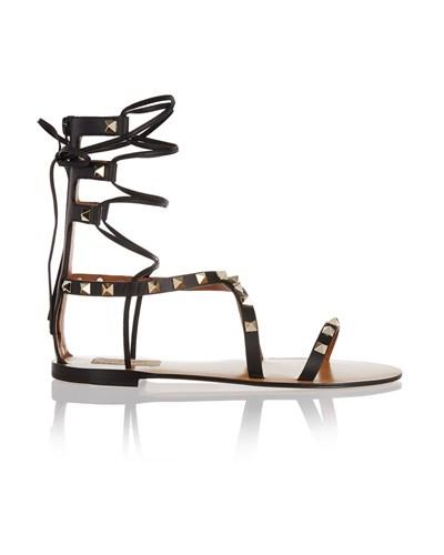 valentino damen rockstud sandalen aus leder zum schn ren. Black Bedroom Furniture Sets. Home Design Ideas