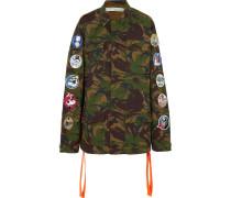 Bestickte Jacke Aus Baumwoll-canvas Mit Camouflage-print Und Applikationen -