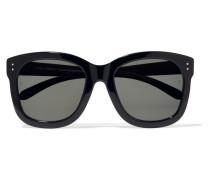 Sonnenbrille Mit Eckigem Rahmen Aus Azetat Und Holz -