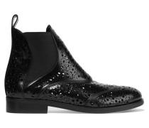 Lasergeschnittene Chelsea Boots Aus Glänzendem Leder - Schwarz