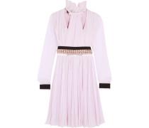 Verziertes Kleid Aus Plissiertem Seidenchiffon - Pink