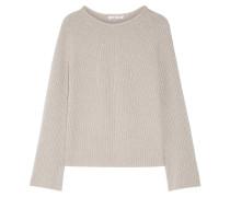 Pullover Aus Einer Gerippten Woll-kaschmirmischung - Stein