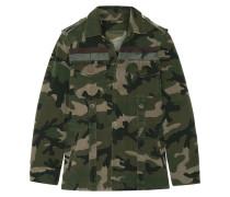 Jacke Aus Baumwoll-gabardine Mit Camouflage-print Und Streifen -