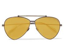 Verspiegelte Pilotensonnenbrille Mit Stahlgrauem Gestell - Gold