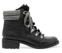 Darrah Ankle Boots Aus Strukturiertem Leder Mit Faux-fur-besatz -