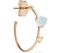 Small Two Step Ohrring aus 14 Karat  mit Opal und Diamant