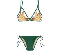 Bedruckter Triangel-bikini Mit Mesh-einsatz -