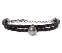 Armband Aus Geflochtenem Leder Mit Silberdetails, Perle Und Kristallen -