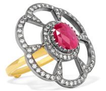 Ring aus 18 Karat  und Sterlingsilber mit Diamanten und Rubin