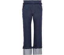 Verkürzte Hoch Sitzende Jeans Mit Geradem Bein Und Fransendetails - Dunkler Denim