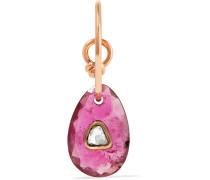 Orso Ohrring aus 9 Karat Rosé mit Turmalin und Einem Diamanten