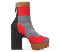 Ziggy Ankle Boots Aus Stretch-veloursleder In Patchwork-optik Mit Plateau - Grau