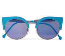 Ilaria Verspiegelte Silberfarbene Cat-eye-sonnenbrille Aus Azetat -