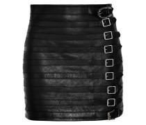 Minirock Aus Strukturiertem Leder Mit Schnallenverzierungen -