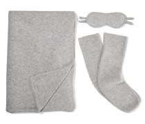 Reiseset aus Decke, Socken und Schlafmaske aus Kaschmir