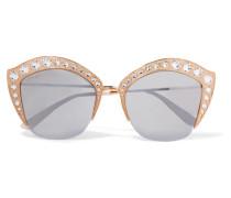 Verspiegelte farbene Sonnenbrille Mit Cat-eye-rahmen Und Kristallverzierung