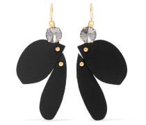 Goldfarbene Ohrringe Mit Leder Und Kristallen -