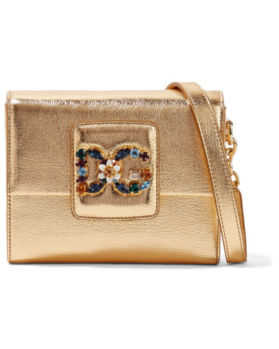 Dolce & Gabbana Damen Millennials Verzierte Schultertasche aus Strukturiertem Metallic-leder