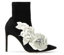 Jumbo Lilico Ankle Boots Aus Veloursleder Mit Blumenapplikationen Aus Leder -