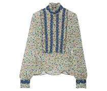 Bedruckte Bluse Aus Seiden-georgette Mit Rüschen Und Stickerei -