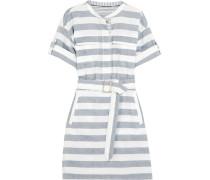 Gestreiftes Hemdblusenkleid Aus Baumwolle Mit Gürtel - Navy