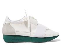 Race Runner Sneakers Aus Leder, Mesh, Veloursleder Und Neopren - Weiß