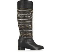 Rom Chic 60 kniehohe Stiefel aus Leder mit Stachelnieten