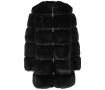 Mantel Aus Faux Fur Mit Mesh-einsätzen - Schwarz