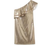 Marina Minikleid Aus Metallic-jacquard Aus Einer Seidenmischung Mit Asymmetrischer Schulterpartie Und Rüschen -