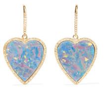 Heart Ohrringe Aus 18 Karat  Mit Diamanten Und Opalen