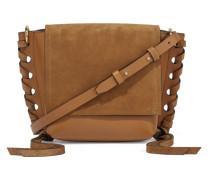 Kleny Schultertasche aus Leder und Veloursleder mit Details im überwendlichstich -