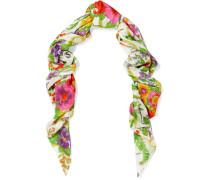 Grand Schal Aus Einer Modal-seidenmischung Mit Blumendruck -