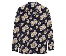 Hemd aus Crêpe de Chine aus Seide mit floralem Print
