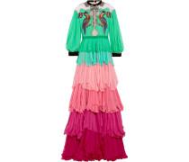 Gestufte Robe Aus Seidenchiffon Mit Verzierungen Und Samtbesatz -