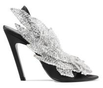 Talon Slash Slingback-sandalen Aus Satin Mit Paillettenverzierung -