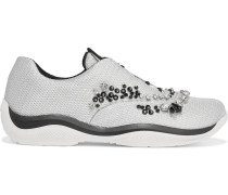 Sneakers aus Mesh mit Kristallverzierung