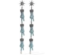 Silberfarbene Ohrringe mit Swarovski-Kristallen und Kunstperlen