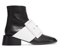 Ankle Boots Aus Leder Mit Lacklederbesatz -