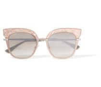 Sonnenbrille Mit Cat-eye-rahmen Aus Azetat Mit Glitter-finish Und farbenen Details