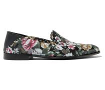 Loafers Aus Leder Mit Floralem Print - Schwarz
