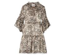 Floral Bedrucktes Kleid Aus Krepon Aus Einer Baumwoll-seidenmischung -