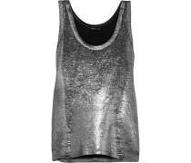 Metallic-tanktop Aus Einer Leinenmischung - Silber