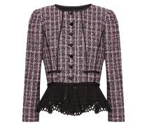 Paillettenverzierte Jacke Aus Tweed Mit Häkelbesatz Und Schößchen - Pink